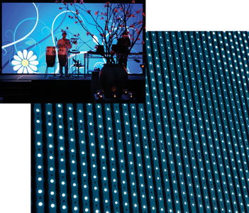 Led curtain strip solution for theatre television set design or